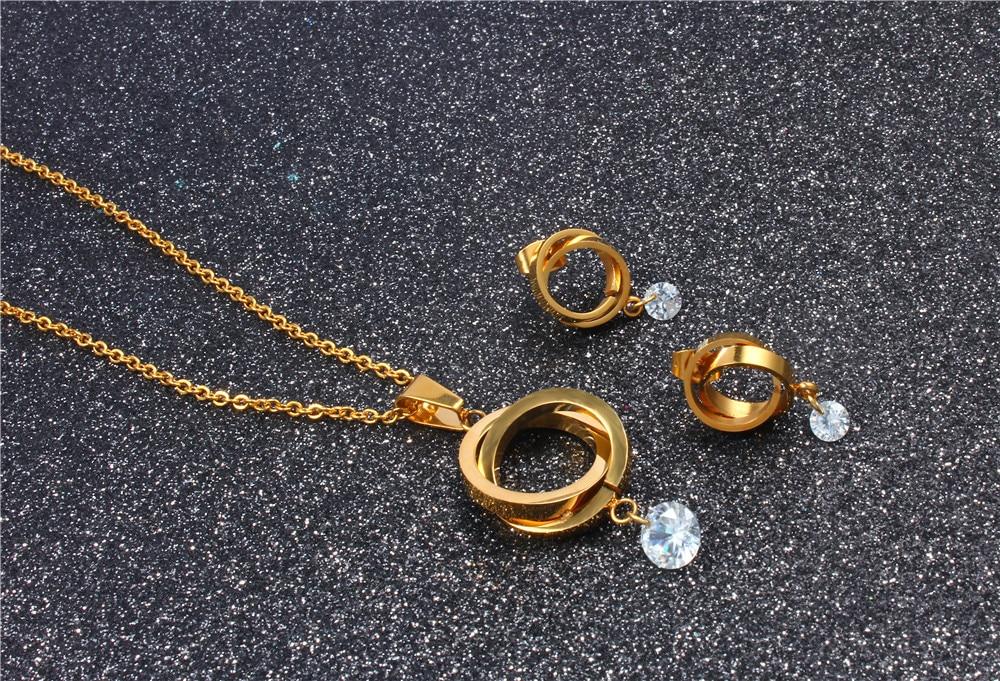 XUANHUA Stainless Steel Fashio Bridal Jewelry Sets Jewellery Women Jewelry Set Dubai Jewelry Schmuck African Jewelry Set Golden