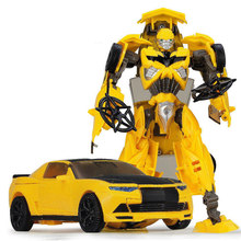 New Yellow Car Hot 18.5cm Big Classic Transformation Education Plastic Robot Cars Toy Wholesale With Retail Box for kids gifts