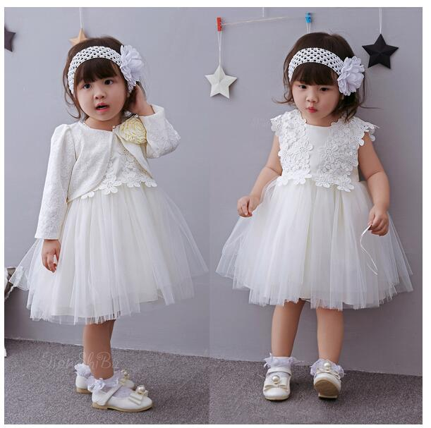 Baby Girls Pageant Suits 2017 Summer Lace Gauze Christening Dress+Headband+Coat Infant 3PCS Sets Kids Birthday Formal Outfits<br>