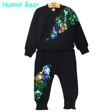 Humor Bear Girls Clothing Sets Winter Wool Sportswear Long Sleeve peacock Rose Floral Embroidered Sequinsets Kids Clothing Sets