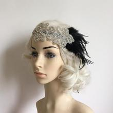Retro Vintage Flapper Feather Fascinator Rhinestone Headband Costume 1920s Headpiece Black