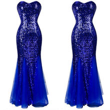 Women Sexy Bodycon Shinning Evening Party Club Long Maxi Dresses Blue Princess Dresses