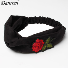 Embroidered Roses Headbands for Women Twist Turban Resembled Suede Headband Soft Head Wrap Hairbands Girls Hair Accessories(China)