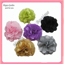 Wholesale - 22colors for your choose 3'' Satin mesh silk flowers brooch pin  FreeShipping