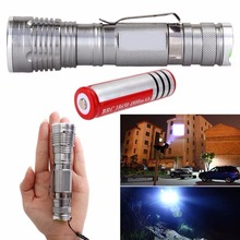 2000LM Q5 LED Zoom Flashlight Focus Torch Lamp Silver + 18650 Battery(China)