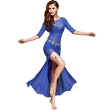 Fashion Half sleeve paillette Placketing Sexy Belly dance One-piece dress for women/female/lady, costume performance wear FF6151