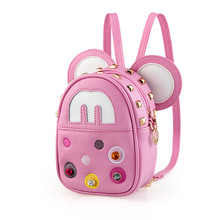 2016 children kids bags Mickey Minnie Girls backpack with Diamond rivets Princess shoulder diagonal cartoon fashion bags pink