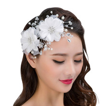 2017 New Arrival Hair Accessories Hair Comb Headband Hot Sale 1 Piece Red White Color Bridal Party Headdress Flower Pearl(China)