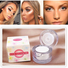 Pro 2 in 1 Single Eyeshadow Palette Make Up Face Brighten Highlighter Shining Shimmer Powder Pigment White Color