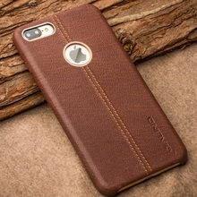 For iPhone 7 Plus 5.5 inch Hard Cases QIALINO Deer Skin Pattern Genuine Leather Coated PC Back Cover for iPhone 7 Plus - Brown