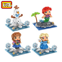 LOZ Princess Ariel Elsa Anna Olaf Toy Doll Building Block Model Adornment Decoration Gift Original Retail Box Wholesale(China)