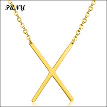 Gold color letter X stainless steel pendant necklace fashion new style free shipping lovers necklace jewelry(China)