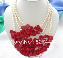 Wholesale free shipping >> 3row white round freshwater pearl red coral necklace