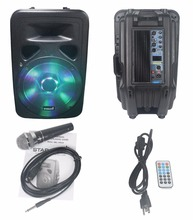 "STARAUDIO SML-15RGB Professional Powered/Active PA DJ Stage 15"" 3500W  USB BT FM LED RGB Light Speaker W/ 1 Wired Microphone"