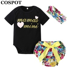 COSPOT 2018 New Girls Summer Clothes Newborn Clothing Set 3Pcs Headband+Bodysuit+Shorts Baby Floral Clothes Suits Jumpsuit 49E(China)