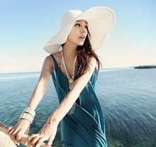 Wholesale and Retail Fashion Women Wide Large Brim Floppy Fold Summer Beach Sun Straw Hat Cap Free Shipping(China)
