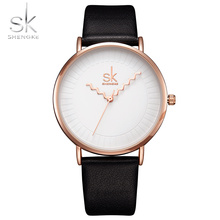 Shengke Brand Women Watches Simple Leather Wristwatch Lady Gold Luxury Dial Watch Mix match Black Leather 2017 Montre Femme(China)