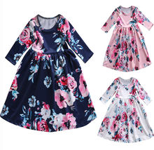 Toddler Kids Baby Girls Boho Long Foral Princess Party Dress Prom Beach Maxi Sundress Print Lovely Casual Long Sleeve Dresses