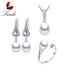 Women Elegant Purple Real Natural Freshwater Pearl Jewelry Sets Fashion AAA Shiny Zircon 925 Sterling Silver Party Jewelry Sets(China)