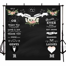 Customized Vinyl Photography Background Blackboard Flower DIY custom Pattern Wedding Backdrop for Photo Studio G-110(China)