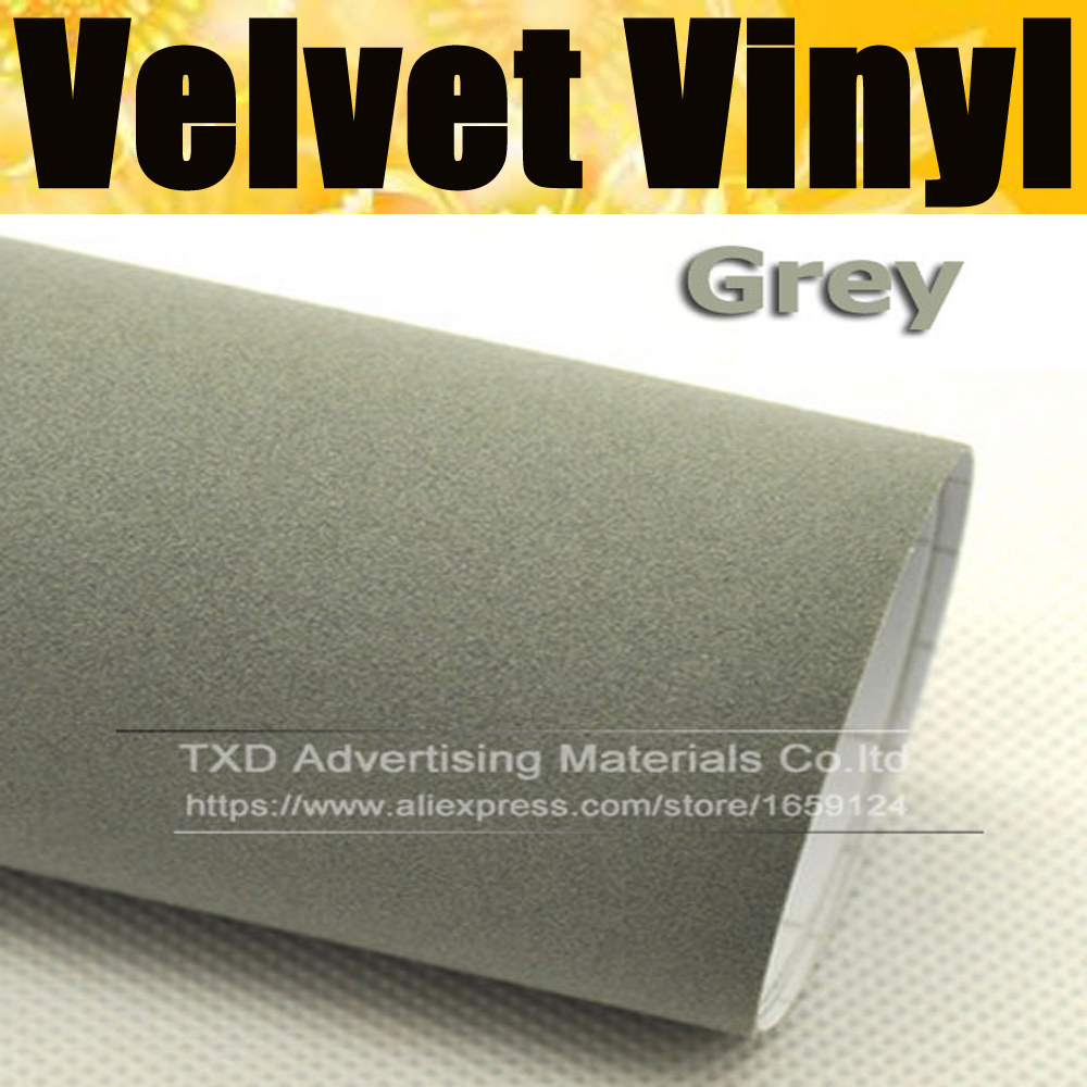 *Gray Velvet Suede Texture Vinyl Car Wrap Decal Sticker Self Adhesive Fabric