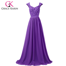 Latest Grace Karin Sleeveless Elegant Long Evening Dresses Grey Blue Purple Formal Dress Chiffon Lace Sequin robe de soiree 6231(China)