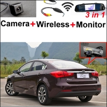3 in1 Special Rear View Camera + Wireless Receiver + Mirror Monitor Back Up  Parking System For KIA Forte K3 Cerato 2012~2015