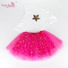 Summer Girls Clothing 2 Pcs Sets Sequins Star Cotton T-shirt+Stars Tutu Skirt Sets For Baby Kids 2-12 Years Old Child Clothes