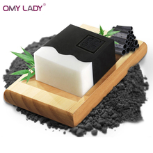 OMY LADY Bamboo charcoal milk Essential OIL handmade soap skin care soft whitening blackhead remover acne treatment oil control(China)