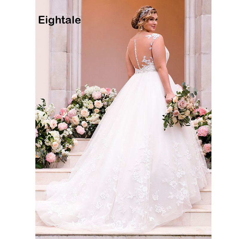 Eightale Plus Size Wedding Dress The Bride O Neck A Line Appliques Button Beaded Sashes Back White Wedding Gowns robe mariage