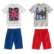 2016 Summer Boy's clothing sets children's clothing suit sets summer casual personality Flag&dog 100%cotton top t-shirts+shorts