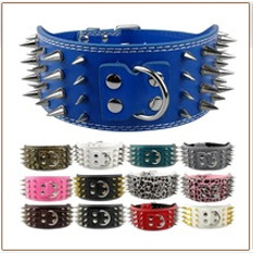 DogsMall-International | Rottweiler Studded Leather Collar Soft and comfortable Polished chrome hardware