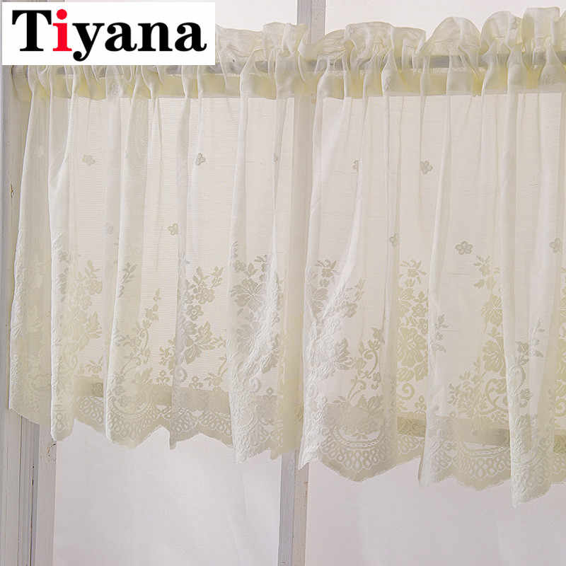 Nordic Modern Lace Jacquard Kitchen short tulle curtains Coffee Short Curtain Wear Rod Finished Home Decoration DL039D3