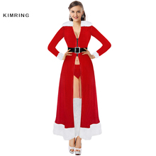 Kimring Sexy Miss Claus Robe Christmas Costume Santa Claus Red Robes Christmas Cosplay Fancy Dress