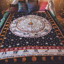 Retro Indian mandala tapestry hippie wall decorated yoga beach towel sunscreen dark constellation shawl/blanket plus long size