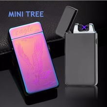 new dual  flameless metal cigarette rechargeable arc lighter ,can be packed to gift cigarette case