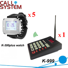 Factory price Wireless Paging System 1 Transmitter Keypad With 5 Watch Receiver Pagers for Pizza Shop(China)