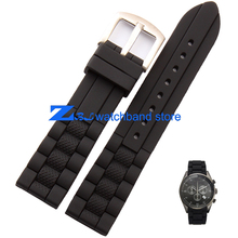 23mm watchband Excellent Style Silicone Rubber Watch Strap Band Soft comfortable and waterproof For sport watches black(China)