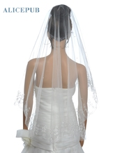 Ivory 1 Tier Scallop Edged Voile Wedding Veil with Embroidery Handmade Bridal Veil Soft Tulle Bride Hair Accessory Free Shipping