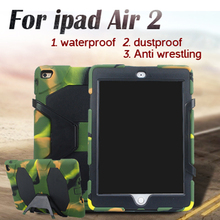 50pcs DHL For Apple iPad Air 2 Shock Case Luxury Thick Foam Armor Heavy Duty Military For iPad air 2 for iPad 6 Silicon Case