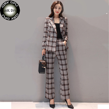 Buy QBK DPU 2017 new Fashion stripe Plaid blazer suit feminino double breasted blazer jacket women office jacket pants suits for $52.04 in AliExpress store