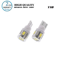 2pcs High power led car light t10 6smd 5630 5w5 DC 12-24V non-polar t10 Aluminum Bulbs Side Marker Parking Lightn Width Lamp Led(China)