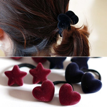 New Popular Korean Style Women Cute Hair Accessories Velvet Heart/Star/Ball Hair Rope Rubber Band Headwear For Girls(China)