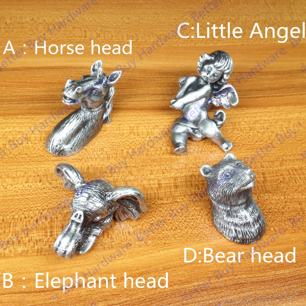 Horse head- shaped  Metal Antique Silvery furniture Knobs/handles/pull for doors/cabinets special style furniture handles<br><br>Aliexpress