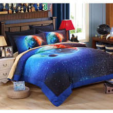 New Cotton Polyster Home Textile 3D Galaxy  Kids Bedding Set King Size Comforter Set Cotton Bed Sheets Bed Linen Duvet Cover