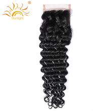 Sunlight Remy Hair Lace Closure With Baby Hair 100% Human Hair Curly Wave Hand Tied 4x4 Free Part 130% Swiss Lace