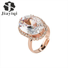 Jiayiqi(Jiayiqi)New Fashion Women's Adjustable Rings Bling Cubic zirconia Jewelry Vintage Style Cubic zirconia Oval Finger Rings