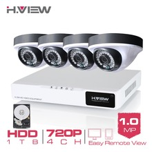 H.View 4CH CCTV System 720P HDMI AHD 4CH CCTV DVR 1 TB HDD 4PCS CCTV Cameras 1.0 MP IR Security Camera Surveillance System
