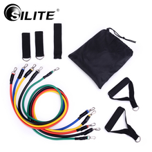 SILITE Fitness Equipments Workout Resistance Bands Latex 11pcs/set Exercise Pilates Tubes Pull Rope Expanders Training Practical