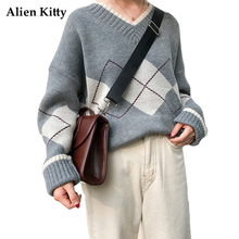 Alien Kitty Winter Thick Warm Women Sweater V-Neck Pullovers Argyle Knitted Cotton Woolen Full Sleeve Comfortabl Female Sweaters(China)
